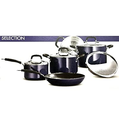 Tramontina Porcelain Enamel Heavy-Gauge Aluminum Nonstick 9-Piece Cookware Set, Made in USA,