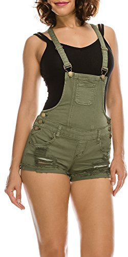 TwiinSisters Women's Destroyed Slim Curvy Pants Stretch Short Overalls Size S - 3X (Small, Olive)