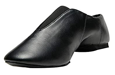 Rabicos Leather Upper Slip-On Jazz Dance Shoes for Girls and Boys (Toddler/Little Kid/Big Kid) (1 M US Little Kid, Black)