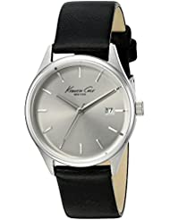 Kenneth Cole New York Womens Classic Quartz Stainless Steel and Black Leather Dress Watch (Model: 10025930)