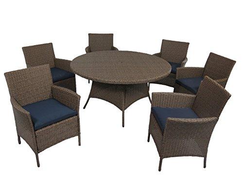 "Creative Living 10093536-RNV Bali 7pc 56"" Round Dining Se..."