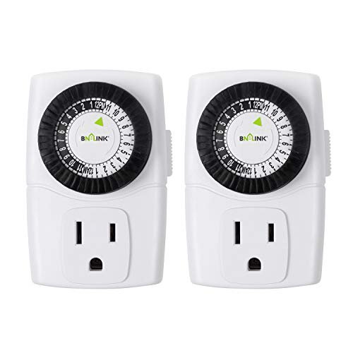 BN-LINK BND-60/U47 Indoor Mini 24-Hour Mechanical Outlet Timer, 3-Prong, 2-Pack