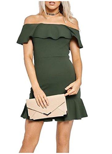 Balze Dalla Orlo Aderente Verde Coolred Esercito donne Spalla Vestito A Mini Solido qfFxXt1