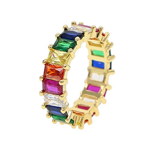 Gold Filled Fashion Jewelry Rainbow Square Baguette cz Engagement Ring for Women Colorful Cubic Zirconia cz Eternity Band Ring (Gold, 9) ()