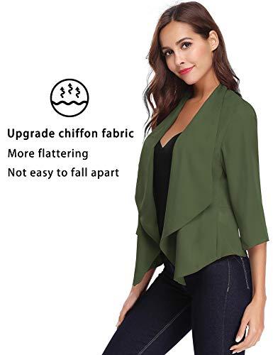 Vert 3 Femme Armée Boléro De Basic Blazer En Elégant Gilet Noir Manches Châle Soiree Cardigan 4 Chic Qualité Mousseline Court Blanc Veste HZqx5zwf