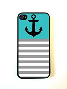 Anchor Teal & Grey Stripes Black iPhone 5 Case - For iPhone 5/5G - Designer PC Case Verizon AT&T Sprint by supermalls