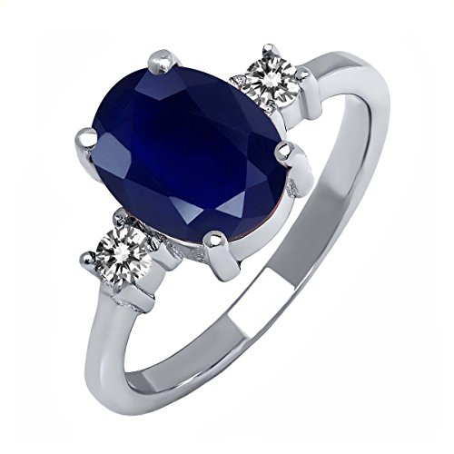 Sterling Silver Blue Sapphire and White Diamond Women's 3-Stone Ring (2.63 cttw, Available in size 5, 6, 7, 8, 9)