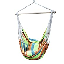"""Adeco Hammock Tree Hanging Suspended Outdoor Indoor Netting Swing Chair, with Pillow and Cushion, 17"""" Seat, Emerald Isles Color"""