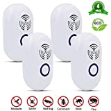 4 Pack Ultrasonic Pest Reject,  Auto-Inverter Safe for Human Pets US Standard Plug in Pest Repeller Efficient To Control Pest Termite Bug Spider Roach Mosquito Fly Mouse Rat Rodent