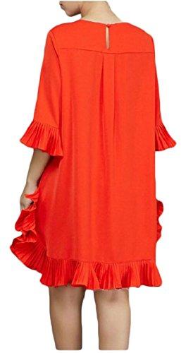 Del Cocktail Volant Arancione Chiffon Da Delle Partito Manica Donne 3 Jaycargogo Mini 4 Estate Vestito 6FX8vwSU
