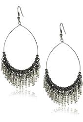 """Leslie Danzis Metallic Silver Hoop Earrings , 3"""""""
