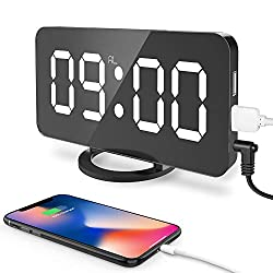 CSHID-US Digital Alarm Clock, Large 6.5 LED Easy-Read Night Light Dimmer Display Electric Bedroom Clock with Snooze Function, Dual USB Charger Ports, Mirror Surface