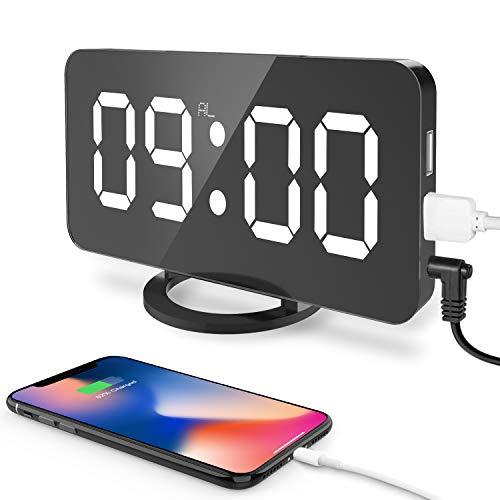 CSHID-US-Digital-Alarm-Clock-Large-65-LED-Easy-Read-Night-Light-Dimmer-Display-Electric-Bedroom-Clock-with-Snooze-Function-Dual-USB-Charger-Ports-Mirror-Surface