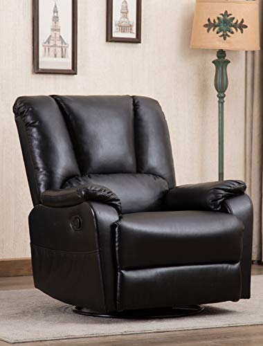 CANMOV Breathable Bonded Leather Single Rocker Recliner Sofa Chair with Padded Seat, Living Room Reclining Chair 360 Degree Swivel, Black Black Leather Swivel Recliner