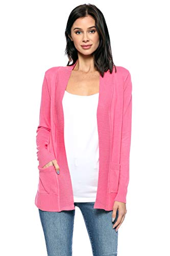 Urban Look Womens Basic Long Sleeve Open Front Comfy Sweater Cardigan (Medium, Coral) ()