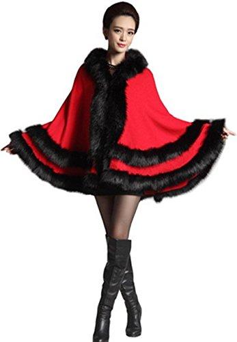 De Imitación Hecho Rosso Capucha Para Zorro Piel Manto Con Mujer Plaer awOcq4ATW