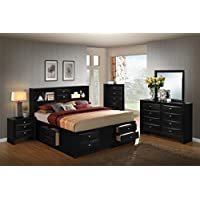 Roundhill Furniture Blemerey 110 Wood Storage Bed Group with King Bed, Dresser, Mirror, Night Stand and Chest, Black