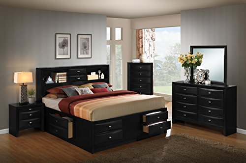 UPC 612524906999, Roundhill Furniture Blemerey 110 Wood Storage Bed Group with King Bed, Dresser, Mirror, Night Stand and Chest, Black