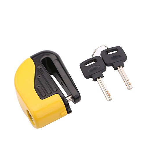 Bike Brakes Lock, 2 Colors Bike Cycling Anti Theft Small Disc Brakes Alarm Lock Bicycle Security Accessories(Yellow)