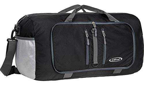 - G4Free Foldable Travel Duffle Bag Lightweight 22 Inch for Luggage, Sports, Gym(Black)