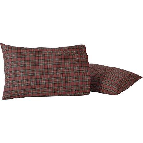 (VHC Brands Primitive Rustic & Lodge Bedding-Tartan Plaid Red Pillow Case Set, Standard)