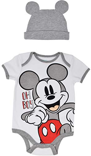 Disney Mickey Mouse Infant Baby Boys Bodysuit & Ears Hat Outfit Set 0-3 Months White