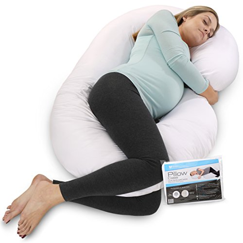 PharMeDoc Pregnancy Pillow With Extra Cover, C-Shaped Body Pillow