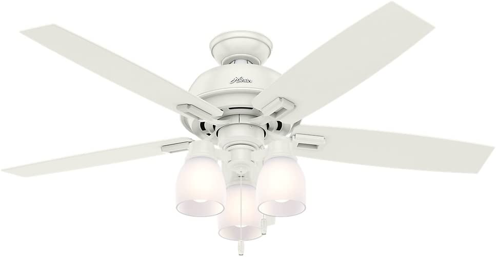 Hunter 53337 Casual Donegan fresco blanco ventilador de techo con luz, 52