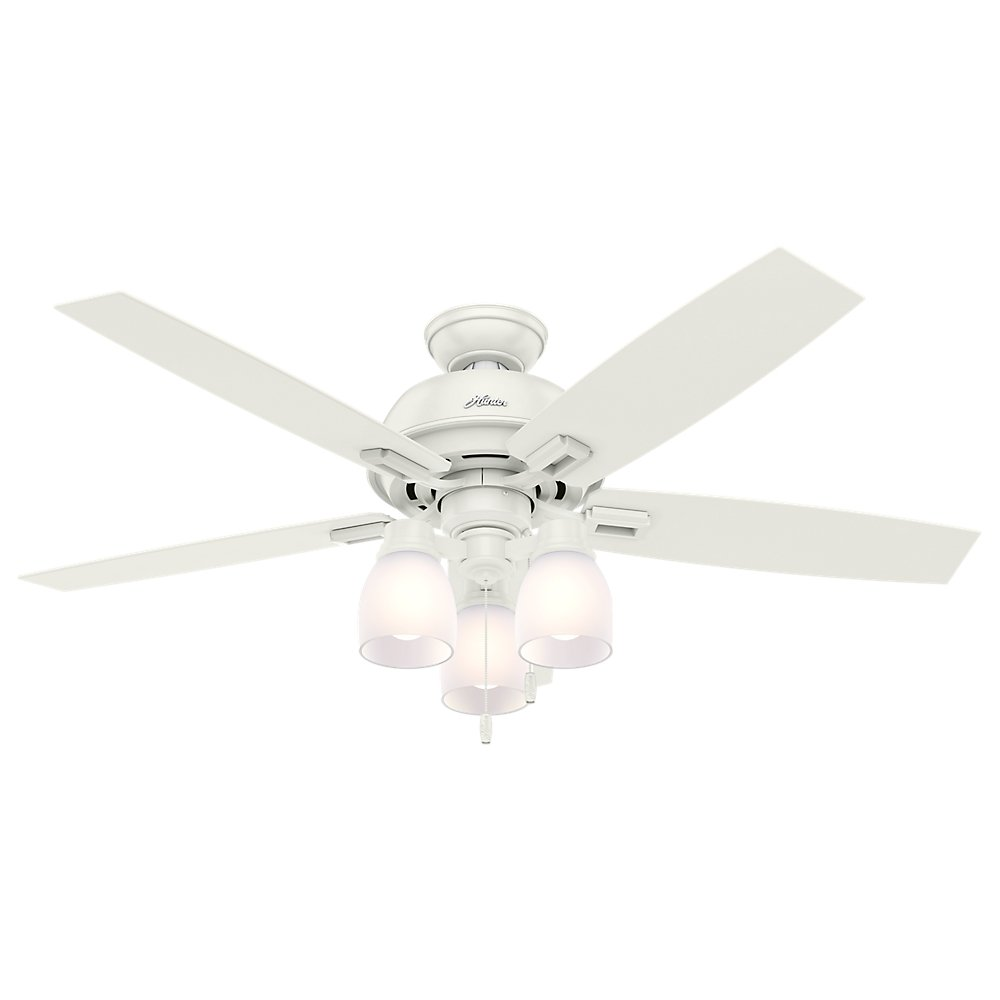 Hunter Indoor Ceiling Fan, with pull chain control – Donegan 52 inch, White, 53337