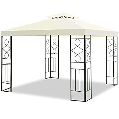 TANGKULA 2 Tier 10'x10' Patio Gazebo Canopy Tent Steel Frame Shelter Awning (Gray)