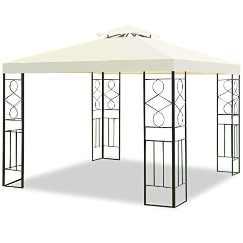 Tangkula 2 Tier 10'x10' Patio Gazebo Canopy Tent Steel Frame Shelter Awning (Gray) (Gazebo Tier 2)