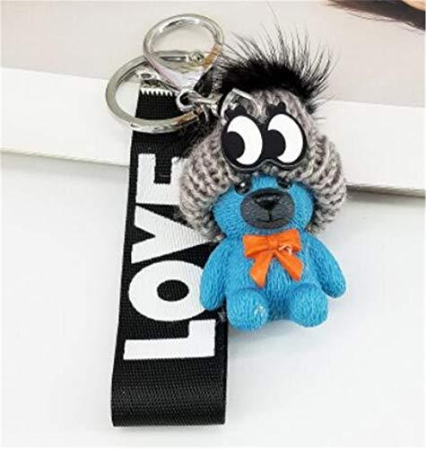 LOSOUL Cute Kawaii Cartoon Bear Wrist Rope Keychain Novelty Toy Gift Accessories Fashion Ornaments Coin Purse Keyring Bag Buckle Phone Pendant ()