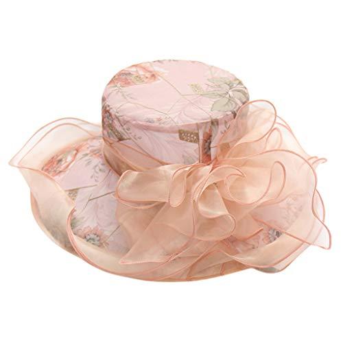 ℱLOVESOOℱ Womens Organza Church Kentucky Derby Fascinator Bridal Tea Party Wedding Hat Wide Brim Holiday Sun Hat Pink ()