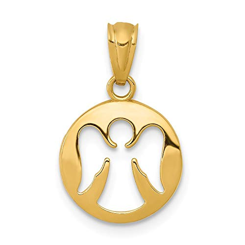 14k Yellow Gold Cut Out Angel Pendant Charm Necklace Religious Fine Jewelry Gifts For Women For Her