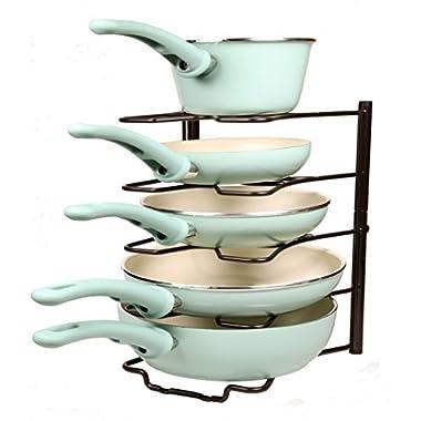 (Bronze) Kitchen Storage Solutions Cabinet Pan Rack Organizer Kitchen Shelves Pot Rack Pot Holder for Roasting Frying Pans Fits Inside Your Cabinet Pot Hangers Kitchen Organizers