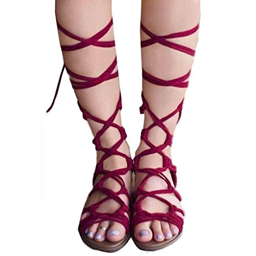 Dovaly Women Sandals Flat Boots Knee High Cross Bandage Gladiator Large Size 2018 New Sandals