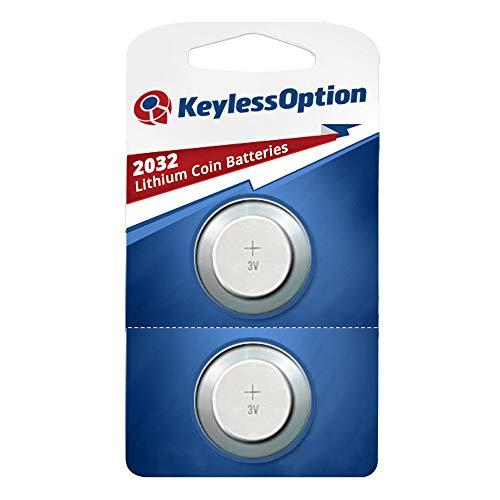 KeylessOption 2032 Battery Long Lasting 3v Lithium for Keyless Entry Remote Smart Key Fob Alarm Head Flip Keys CR2032 (2 Count) (2002 Chevy Malibu Remote)