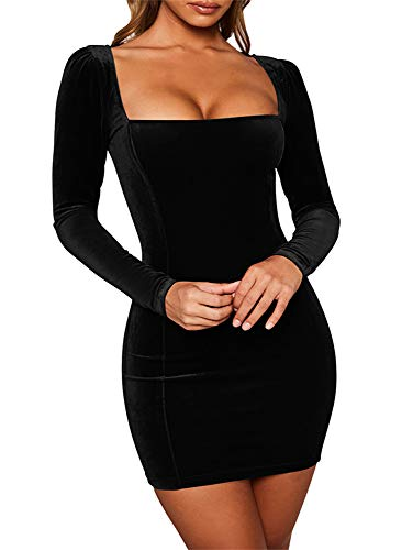 GOBLES Womens Sexy Velvet Long Sleeve Bodycon Elegant Mini Party Dress Black