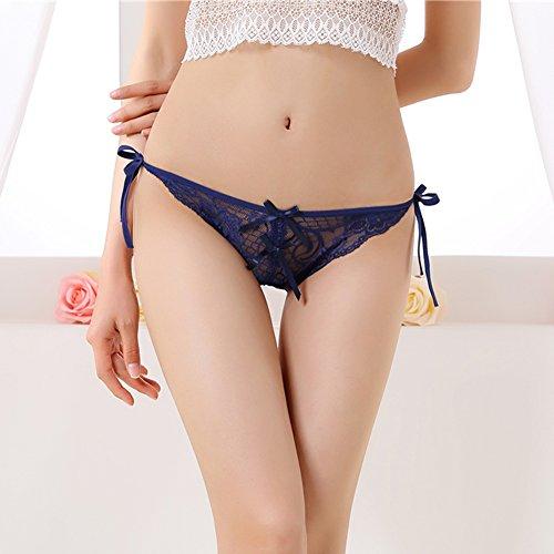 Diamondo Sexy Women Lace V-string Briefs Panties G-string Underwear Hot (Blue)