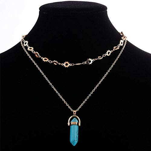(Women Multi-layer Choker Bib Gold Turquoises Statement Jewelry Necklace Pendant)
