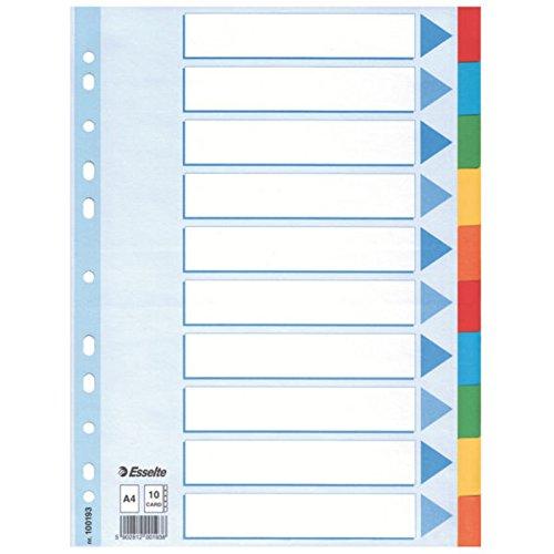 10er Vorteilspack Leitz Kartonregister Standard Blanko, A4, Karton, 10 Blatt, weiss