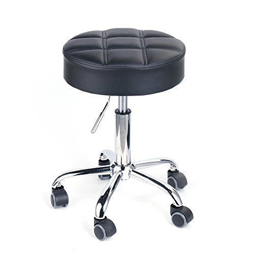 Leopard Round Rolling Stools, Adjustable Work Medical Stool with Wheels – Black (Black)