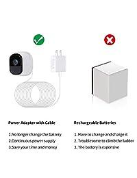 Alertcam adaptador de corriente para cámara de seguridad NETGEAR Arlo (reemplaza CR123A), con cable impermeable de 24.6 ft, alimentación continua de su Arlo, no compatible con Alro Pro y Arlo 2