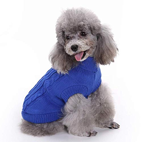 Bwealthest Puppy Sweater - Warm Doggie Unisex Sweater Clothes, Cute Knitted Classic Dog Coat, Dog Sweater, Pet Dog Sweatshirt Apparel (Medium, Dark -