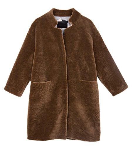 Lightweight Shearling Coat (Fur Story Women's Long Real Lamb Coat Warm Fashion Shearling Coat 3/4 Sleeve Stand up Collar US6 (Brown))