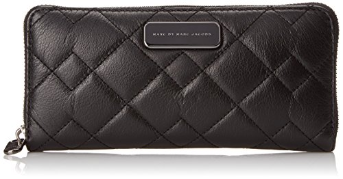 Marc by Marc Jacobs Sophisticato Crosby Quilt Leather Slim Zip Around Small Good Wallet, Black, One Size