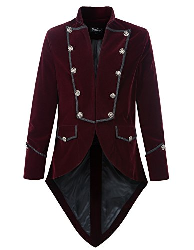 Mens Steampunk Tailcoat Jacket Velvet Gothic VTG Victorian (XXXL, Burgundy) (Steampunk Clothing Men)