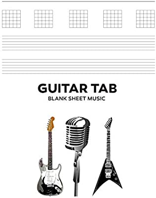 Guitar Tab Blank Sheet Music: 8.5x11 Inch, 100 White Pages - Rock ...