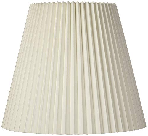 Ivory Pleated Lamp Shade Traditional Unlined with Harp 10x17x14.75 (Spider) - Brentwood