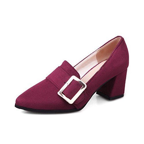 AllhqFashion Womens Pointed-Toe Kitten-Heels Frosted Solid Pull-On Pumps-Shoes Claret 8DEOrL1